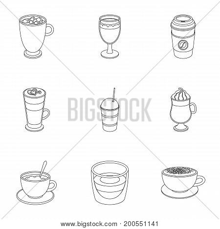 Different types of coffee. Different types of coffee. set collection icons in outline style vector symbol stock illustration.