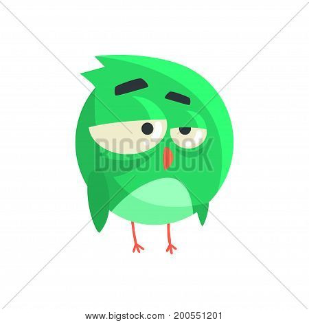 Cute little green thoughtful chick bird standing colorful character vector Illustration on a white background