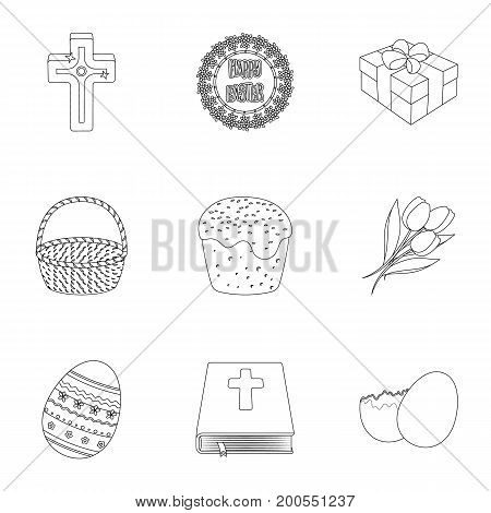 Easter cake, egg, chicken, rabbit, butterfly and other attributes. Easter set collection icons in outline style vector symbol stock illustration .
