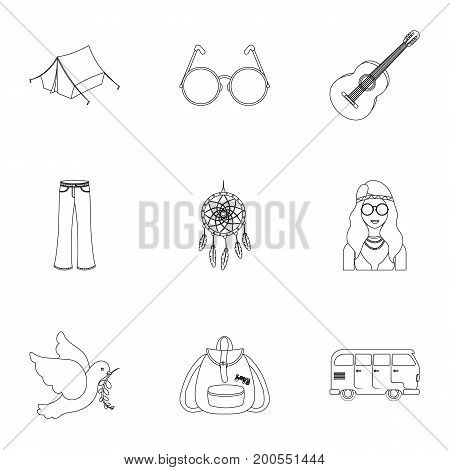 Bird, hemp, leaf and other hippy equipment. Hippy set collection icons in outline style vector symbol stock illustration.