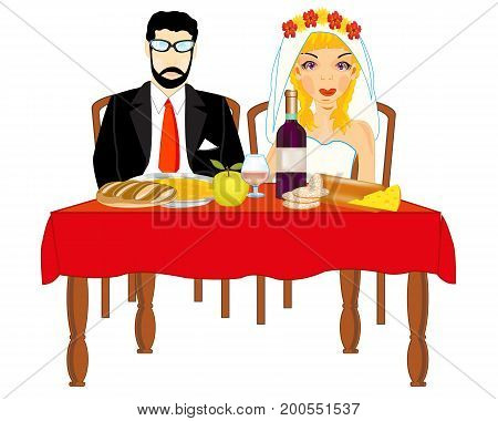 Bridegroom and bride at the table.Vector illustration