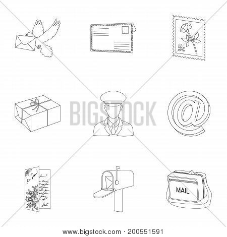 Postman, envelope, mail box and other attributes of postal service.Mail and postman set collection icons in outline style vector symbol stock illustration .