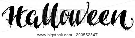 Halloween black terrible lettering text for greeting card. Isolated on white vector illustration