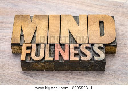 mindfulness word abstract  or banner - awareness concept - text in vintage letterpress wood type printing blocks stained by color inks