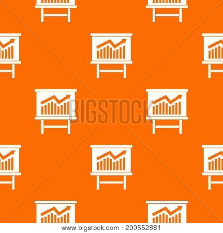 Growing chart on presentation board pattern repeat seamless in orange color for any design. Vector geometric illustration