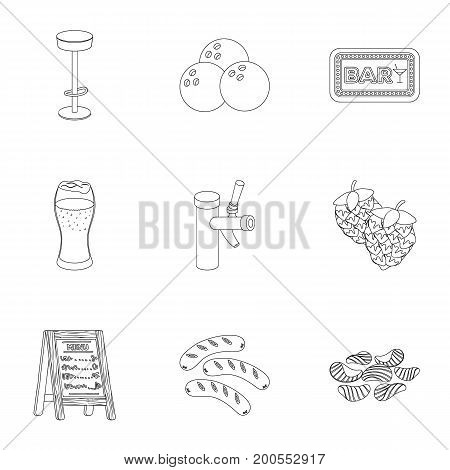 A chair, a beer, a sign, items for a pub.Pub set collection icons in outline style vector symbol stock illustration .