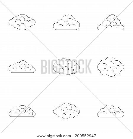 Tropical cloud icon set. Outline set of 9 tropical cloud vector icons for web isolated on white background