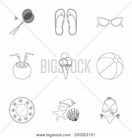 Chaise longue, ice cream, glasses items for summer holidays.Summer rest set collection icons in outline style vector symbol stock illustration .