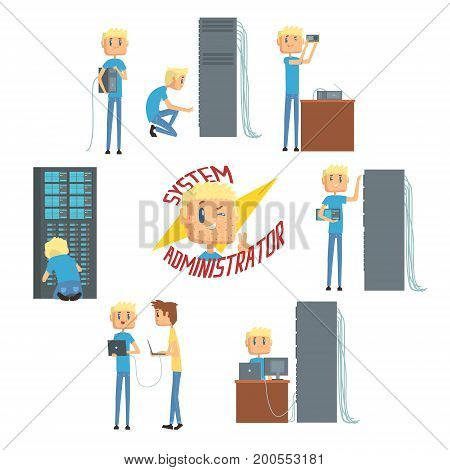System administrator, network engineer characters, set of network diagnostics, users support and server maintenance cartoon vector Illustrations on a white background