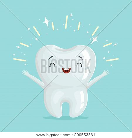 Cute healthy shiny cartoon tooth character, childrens dentistry concept vector Illustration on a light blue background