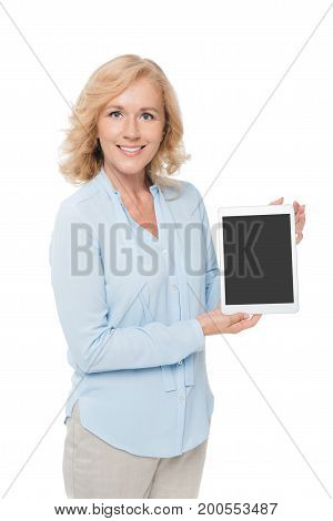 Woman Showing Blank Tablet