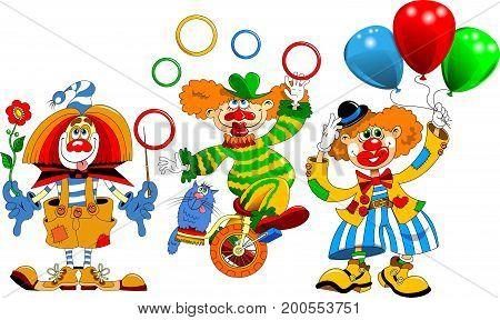 Cheerful clown. Cartoon clown flies on balloons. Vector illustration - a good red-haired clown