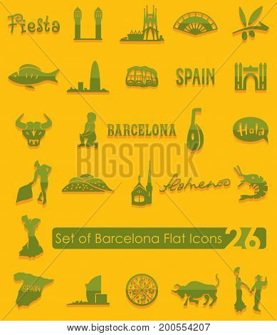 Set of Barcelona flat icons for Web and Mobile Applications