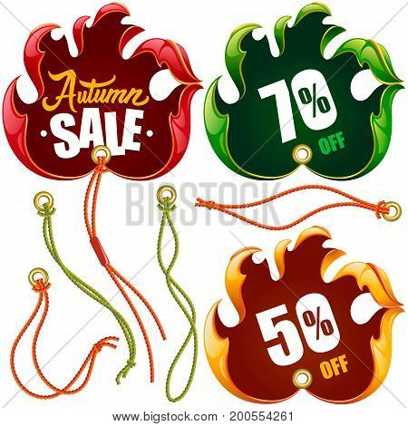 Vector Autumn Leaf Discount Labels in the shape of Hand Sign Ok set: Red Yellow and Eco Green Tags Isolated on white Background