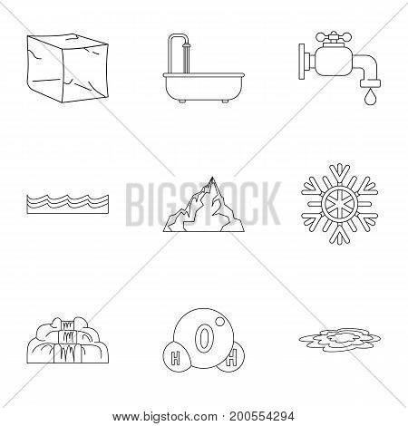 Natural water form icon set. Outline set of 9 natural water form vector icons for web isolated on white background