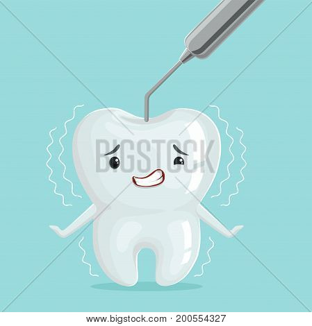Cute white cartoon tooth character with dentist tool, childrens dentistry, dental care concept vector Illustration on a light blue background