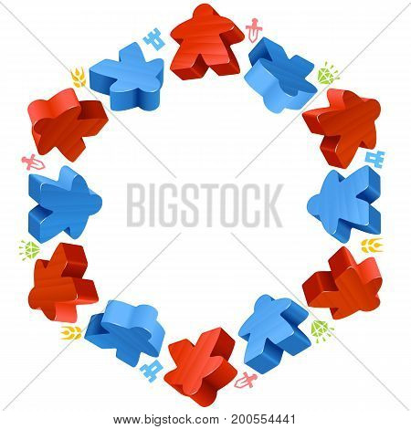 Hex frame of meeples for board games. Red and blue game pieces, and resources counter icons isolated on white background. Vector border for design boardgames advertisement
