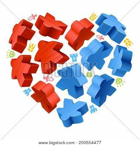 Vector game pieces in the shape of heart. Red and blue wooden meeples, and resources counter icons isolated on white background. Concept of love by board games