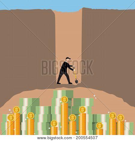 Businessman digging for a bitcoin. Bitcoin mining concept