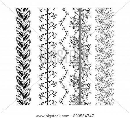 Set ornamental borders. Vector floral decorative elements. Illustration isolated on white