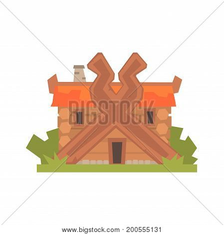 Ancient timbered log house vector Illustration on a white background