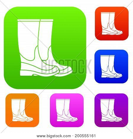 Boots set icon in different colors isolated vector illustration. Premium collection
