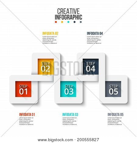 Business data visualization. Process chart. Abstract elements of graph, diagram with 5 steps, options, parts or processes. Vector business template for presentation. Creative concept for infographic.