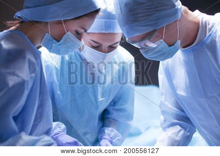 Team surgeon at work in operating room