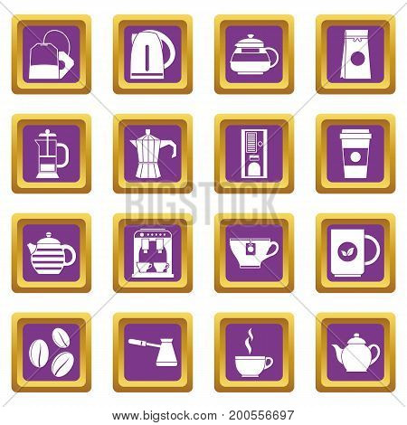 Tea icons set in purple color isolated vector illustration for web and any design