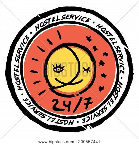 Hostel service advertisement label. 24 7. Half sun half moon smiling sign.