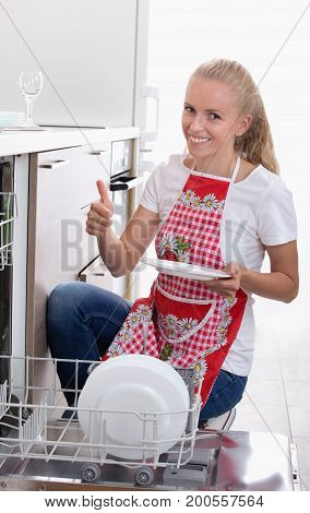 Woman Showing Clean Plate