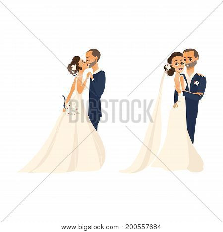 vector groom and bride newlywed couple kissing each other, set flat cartoon illustration isolated on a white background. Wedding concept character design