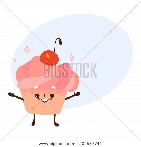 Vector sweet humanized cupcake, brownie character with arms and legs . Flat cartoon isolated illustration on a white background. Funny smiley dessert with cherry at head with speech bubble