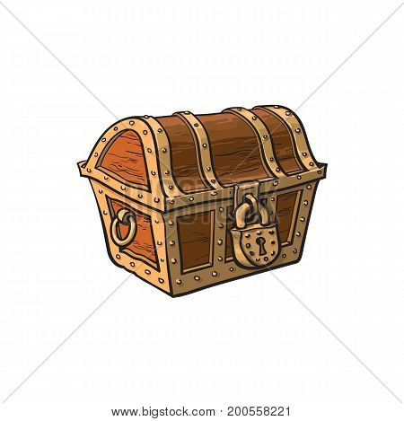 vector closed locked wooden treasure chest. Isolated illustration on a white background. Flat cartoon symbol of adventure, pirates, risk profit and wealth.