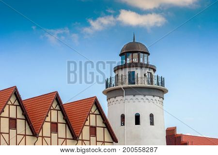 Renovated lighthouse and half-timbered houses