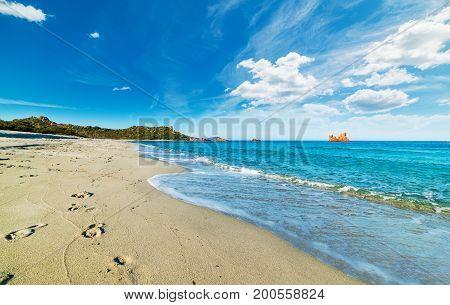 Cloudy sky over Cea beach. Sardinia Italy