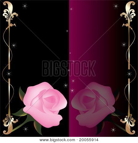 Vector Abstract Background With Pink Roses