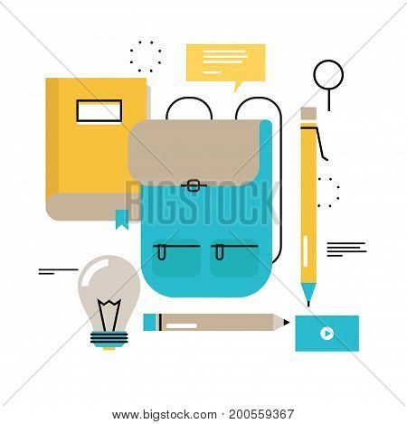 Back to school flat line vector illustration design for mobile and web graphics. School supplies, e-learning, online trainings, courses, internet studying