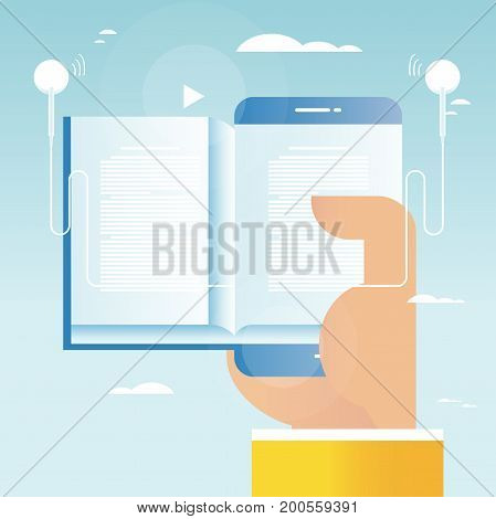 Audio book, online education, e-book vector illustration design for mobile and web graphics. E-learning, online trainings, courses, internet studying, online book, tutorials