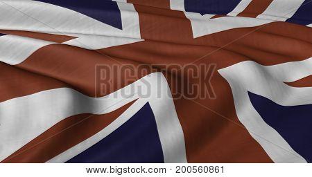 3D illustration of United Kingdom flag fluttering in light breeze