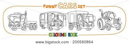 Truck, lorry bus and tractor. Small funny vector cute cars with eyes and mouth. Coloring book set for kids. Children vector illustration