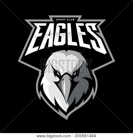 Furious eagle head athletic club vector logo concept isolated on black background.  Modern sport team mascot badge design. Premium quality bird emblem t-shirt tee print illustration.