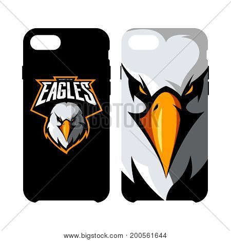 Furious eagle head athletic club vector logo concept isolated on smart phone case. Modern sport team mascot badge design. Premium quality wild bird emblem cell phone cover illustration.
