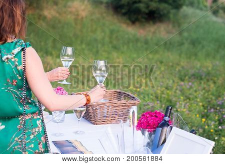 People toasting during outdoor party main focus on the wine glass
