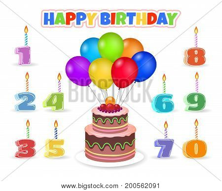 Cartoon celebration birthday cake with balloons and anniversary number with candles vector illustration isolated on background
