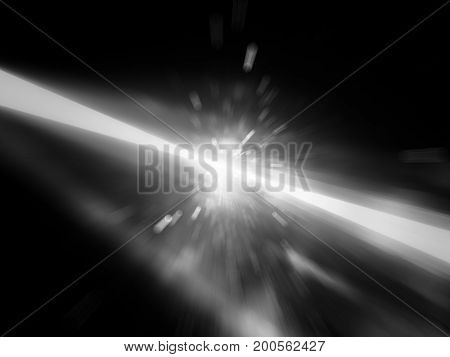 Glowing laser beams hitting the target explosion black and white texture computer generated abstract background black and white 3D rendering