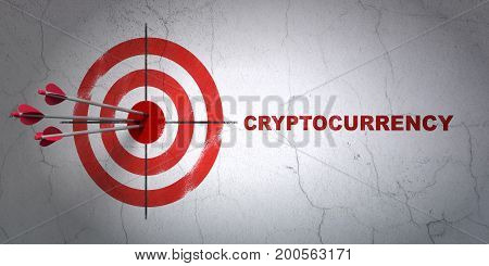 Success money concept: arrows hitting the center of target, Red Cryptocurrency on wall background, 3D rendering
