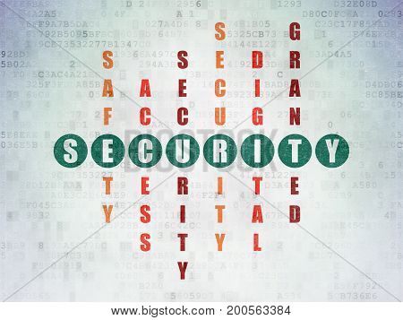 Safety concept: Painted green word Security in solving Crossword Puzzle on Digital Data Paper background