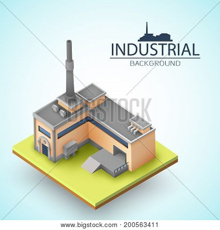 3d factory with chimney and ramp at yellow platform on white background with blue shade vector illustration