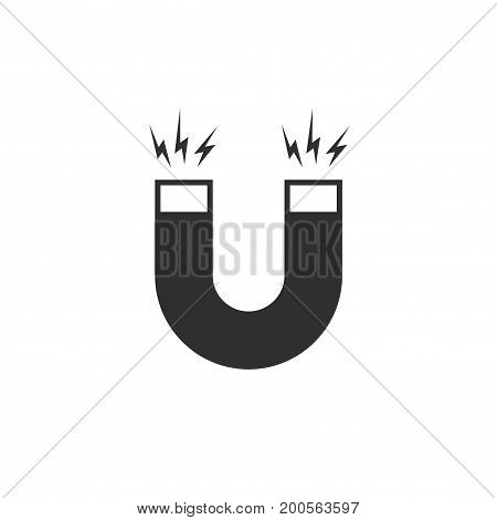 Magnet icon vector, flat cartoon black and white magnet with magnetic power isolated on white background